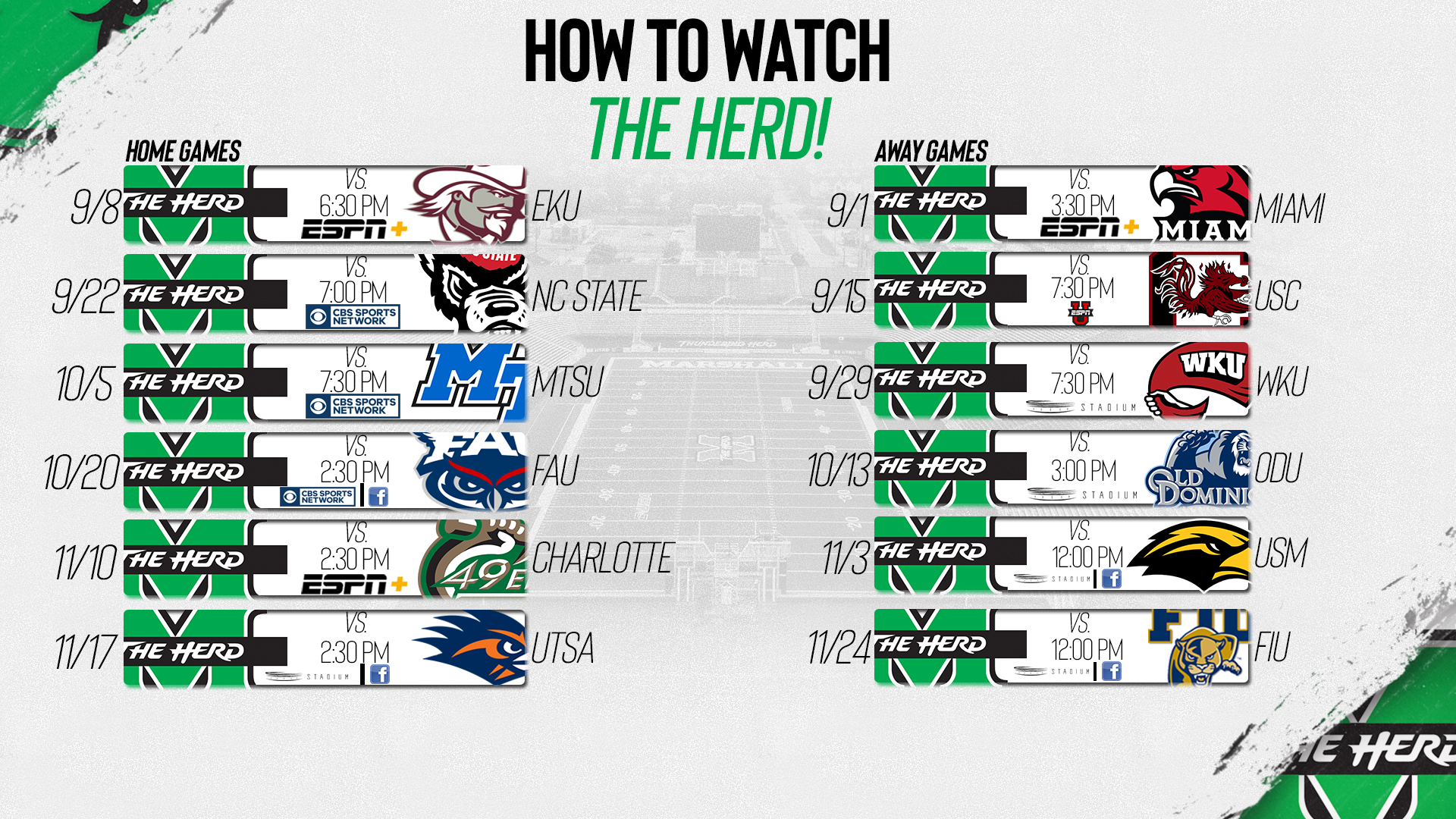 How To Watch The Herd On Espn This Season And More Marshall